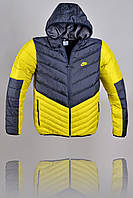 Пуховик Nike 2227 Желтый, темно-серый