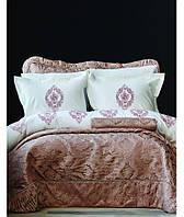 Постельное белье Karaca Home перкаль Astoria rose с вышивкой евро размера