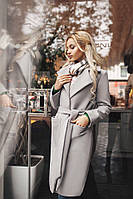 Женское стильное кашемировое пальто светло-серое. Тренд сезона!