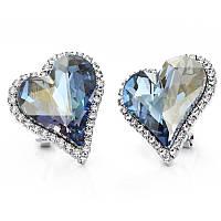 Женские серьги с кристаллами Swarovski Прелестница 161696 голубые