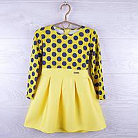 """Детское нарядное платье """"Лаванда"""". 1-4 лет. Желтое в горох. Оптом."""