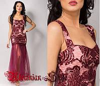 Бордовое короткое вечернее платье на бретелях, расшитое пайетками