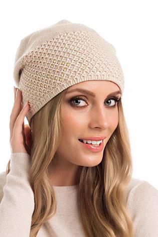 Элегантная двойная вязаная женская шапка Iwa Pawonex Польша., фото 2