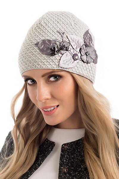 Красивая двойная вязаная женская шапка Tiffani Pawonex Польша.