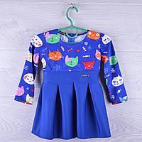 """Детское нарядное платье """"Котейки"""".  1-4 лет. Синее+электрик. Оптом."""