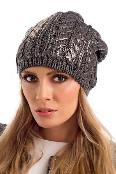 Стильная двойная вязаная женская шапка Miley Pawonex Польша.