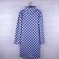 """Платье нарядное подростковое """"Шахматы"""" 8-12 лет. Темно-синее+серое. Оптом."""