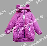 Куртка весенняя для девочек капюшон с ушками