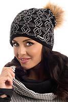 Красивая вязаная женская шапка с меховым помпоном Lexy Pawonex Польша.