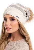 Красивая теплая вязаная женская шапка с меховым помпоном Emi Pawonex Польша.