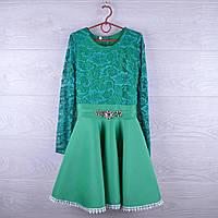 """Детское нарядное платье """"Два цвета"""".  6-10 лет. Темная мята +Мята. Оптом."""