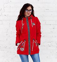 Парка женская куртка весна осень красная