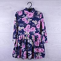 """Детское нарядное платье """"Букет"""". 3-7 лет. Темно-синее+розовое. Оптом."""