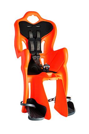 Сиденье задн. Bellelli B1 Сlamp (на багажник) до 22кг, оранжевое с чёрной подкладкой, фото 2