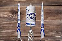 """Набор свечей """"Семейный очаг"""" в бело-синем цвете"""
