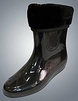 Силиконовые Ботики со вставкой носком  Верона. Черные