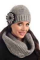 Элегантная вязаная женская шапка с цветком Gloria Pawonex Польша.