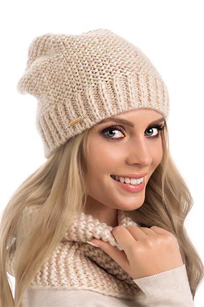 Теплая двойная вязаная женская шапка с люрексом Bianka Pawonex Польша.