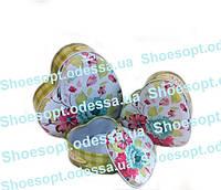 Подарочные коробки жестяные Сердечки набор 3шт 12-11,5-5 см, фото 1