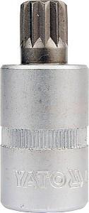 """YATO Головка торцева з квадр. 1/2""""  з вставкою SPLINE М10,  L= 50 мм, Nm=176,5"""