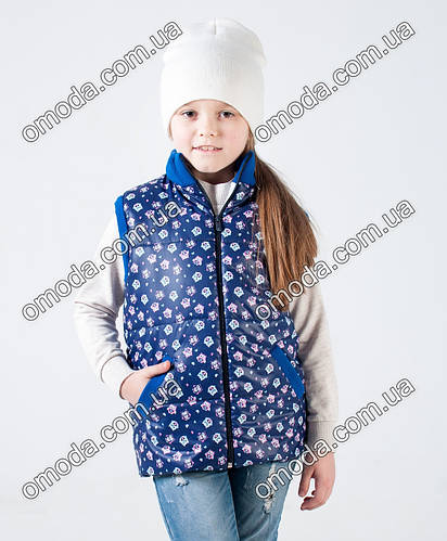 Детская жилетка с принтом синего цвета