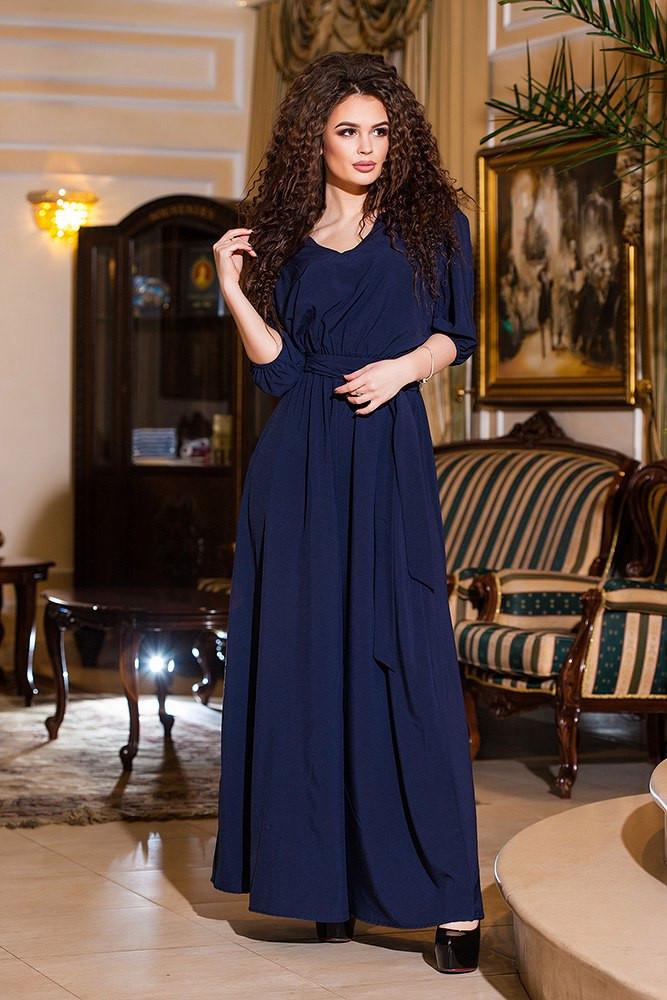 Платье в пол трикотаж индиго