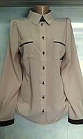 Женская комбинированная блузка из креп - шифона