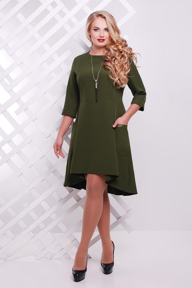 Платье со шлейфом Миланова оливка 48-56р