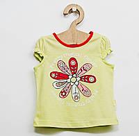 Желтая футболка со цветком для девочки