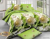 """Комплект постельного белья двуспальный евро """"Белые тюльпаны""""."""