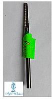 Твердосплавная фреза для фрезера, выпиливание под ногтем, зона кутикулы после наращивания ТВС 2-4-1 зеленая
