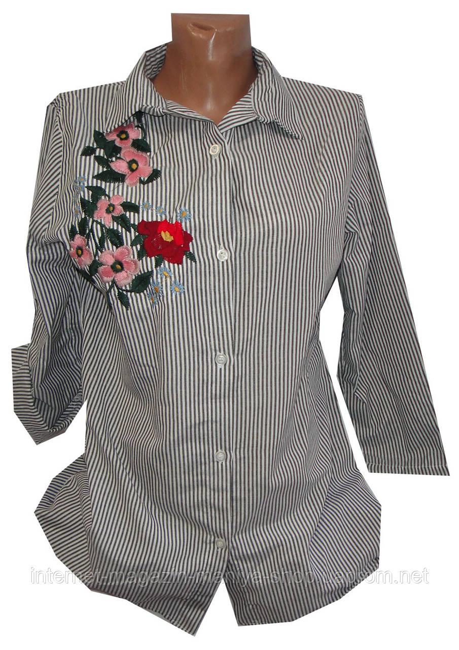 Рубашка женская трансформер полоска цветы (деми)