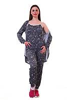 Женский спортивный костюм С-007 Серый-Звезды