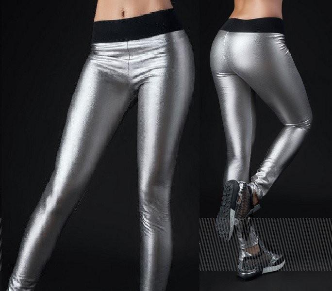 Модные серебристые женские брюки-лосины