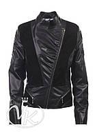 Черная кожаная куртка комбинированная