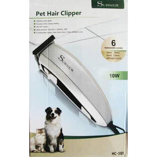 Машинка для стрижки животных (собак и котов) Pet Hair Clipper Surker HC-585 триммер с  6  насадками