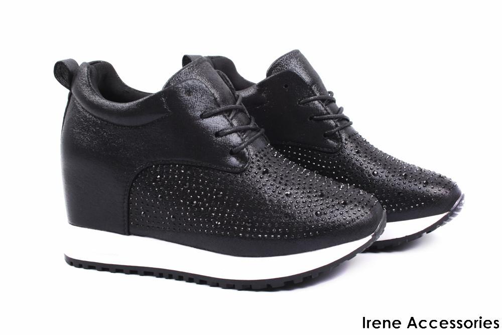 Модельные кроссовки женские Gelsomino цвет черный (модные, стильные, на  шнурках, танкетка) c2b6b06597a