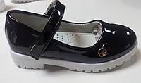 Детские черные лаковые туфли, тракторная подошва 25р