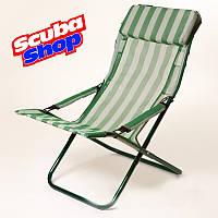 """Шезлонг """"Горизонт"""" для отдыха на пляже и даче, цвет зеленый"""