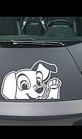 Виниловая наклейка на машину белая собака.