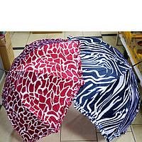 Зонт женский трость с рисунком и рюшами