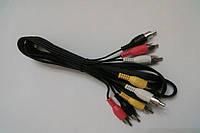Шнур соединительный 4RCA х 4RCA длина 1,8м,цвет чёрный