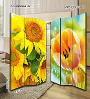 Ширма. перегородка Подсолнухи и тюльпаны 185 см
