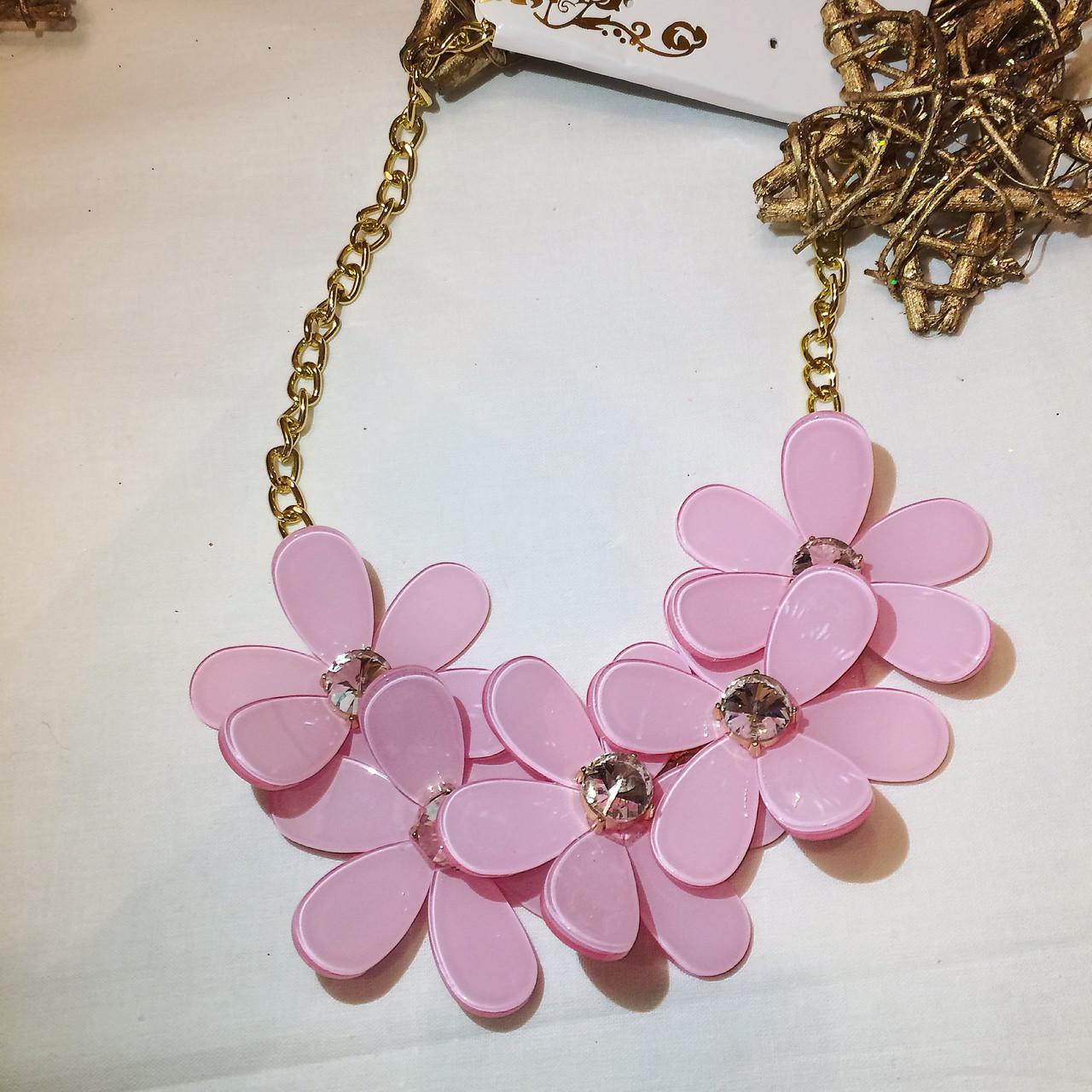 Колье розовое с цветами 07028