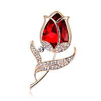 Брошь Красный цветок кристаллы Swarovski