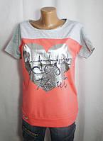 Серо-красная футболка для девушки