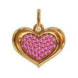 Кулон серебряный Сердце с Камнями 411250, фото 2
