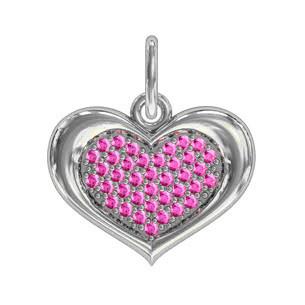 Кулон серебряный Сердце с Камнями 411250