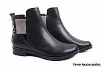 Модельные ботинки женские Marko Rossi натуральная кожа цвет черный (ботильоны, каблук, байка, Украина)