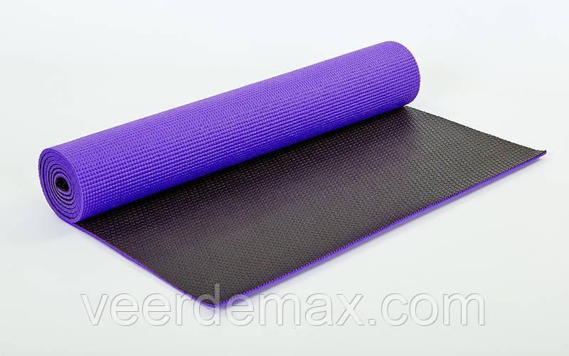 Двухслойный коврик для фитнеса и йоги Yoga Mat. 2-х слойный  6mm ( 1.73*0.61*6mm) фиолетовый-черный